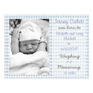 Blue Boy Birth Announcement Postcard