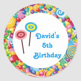 Blue Boy Candy Shop Birthday Party Favor Labels Round Sticker