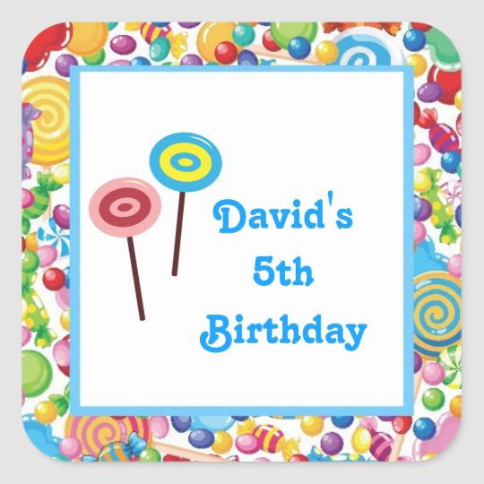 Blue Boy Candy Shop Birthday Party Favour Labels