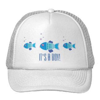 Blue Boy Fish Gender Reveal Baby Shower Trucker Hat