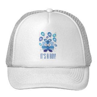 Blue Boy Gift Box Gender Reveal Baby Shower Trucker Hat
