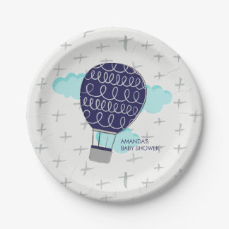 Blue Boy Hot Air Balloon Baby Shower Party Paper Plate