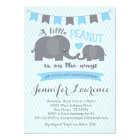 Blue Boy Peanut Elephant Baby Shower invitation