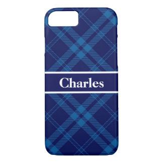 Blue Boy Plaid Monogram Case-Mate iPhone Case