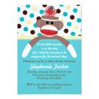 Blue Boy Sock Monkey Baby Shower Invitation