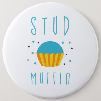 Blue Boy Stud Muffin Gender Reveal Baby Shower 6 Inch Round Button