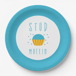 Blue Boy Stud Muffin Gender Reveal Baby Shower Paper Plate