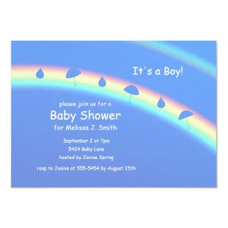 Blue Boy Umbrellas and Drops Card