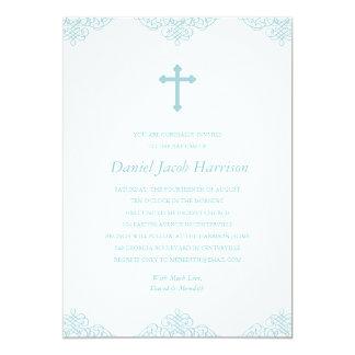 "Blue Boys Baptism/Christening 5"" X 7"" Invitation Card"