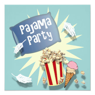 Blue Boys Sleepover Pajama Party Invitation