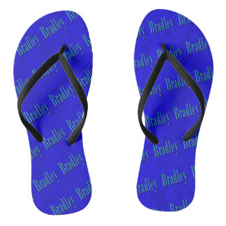 Blue Bradley Name Logo On Blue Mosaic, Flip Flops