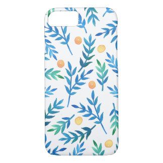 Blue Branches + Coral Berries iPhone 7 Case