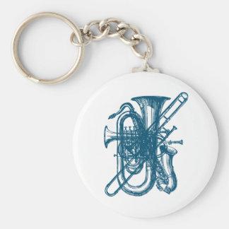 Blue Brass & Sax Keychain