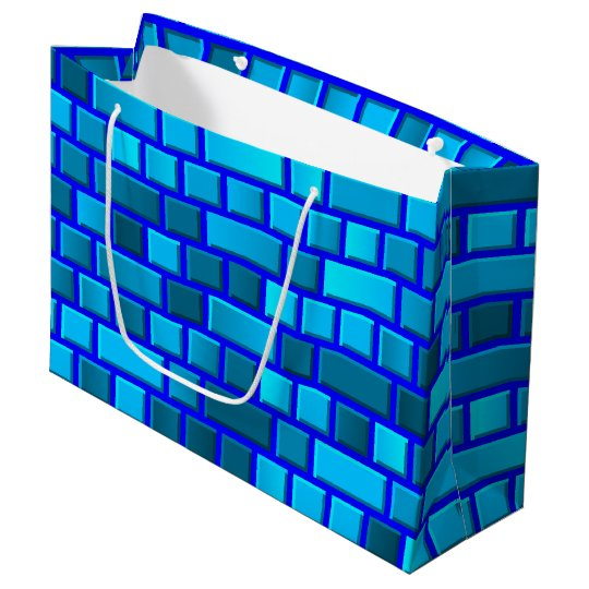 Blue bricks large gift bag