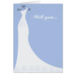 Blue Bridal Gown Bridesmaid Cards