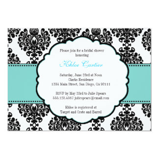 "Blue Bridal Shower Invitations Damask 5"" X 7"" Invitation Card"