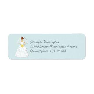 Blue bridal shower return address envelope labels