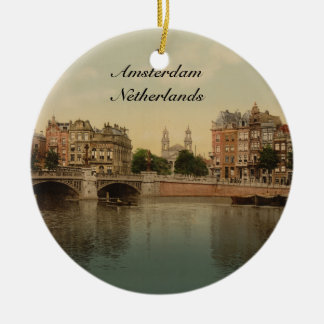 Blue Bridge and the Amstel River, Amsterdam Ceramic Ornament
