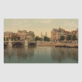 Blue Bridge and the Amstel River, Amsterdam Rectangle Stickers