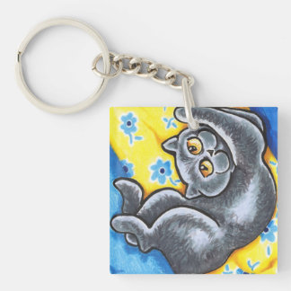 Blue British Shorthair Cat Flower Bed Single-Sided Square Acrylic Keychain