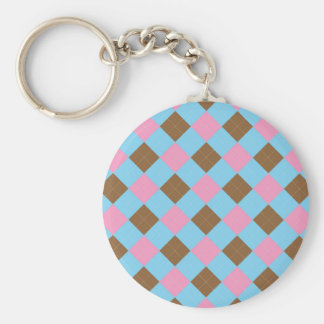 Blue, brown and pink plaid pattern basic round button keychain