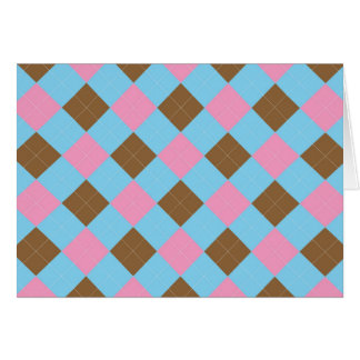 Blue, brown and pink plaid pattern card