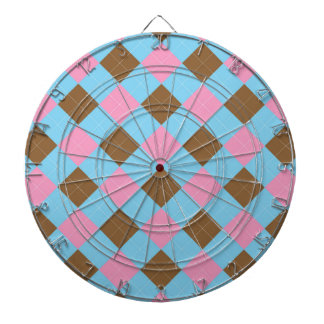 Blue, brown and pink plaid pattern dart boards