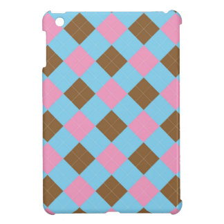 Blue, brown and pink plaid pattern iPad mini cover