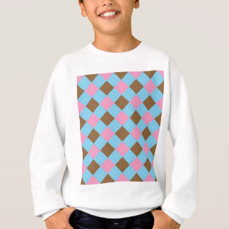 Blue, brown and pink plaid pattern sweatshirt