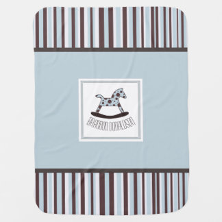 Blue, Brown and White Rocking Horse Baby Blanket