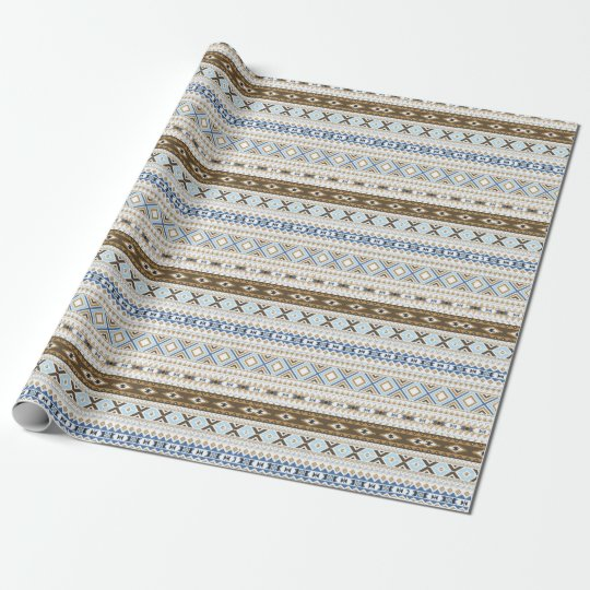 Blue Brown Aztec Tribal Gift Wrap