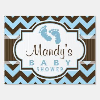 Blue & Brown Chevron Stripes Baby Shower Sign