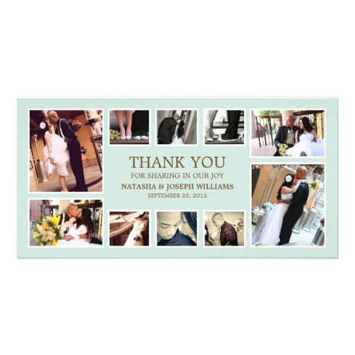 BLUE & BROWN COLLAGE | WEDDING THANK YOU CARD CUSTOM PHOTO CARD