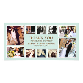 BLUE & BROWN COLLAGE | WEDDING THANK YOU CARD PICTURE CARD