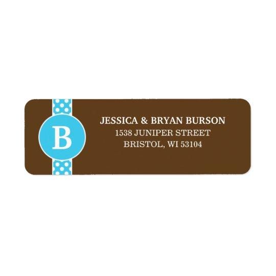Blue/Brown Dainty Dots Custom Monogrammed Family Return Address Label