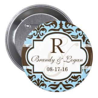 Blue & Brown Damask Wedding Pins
