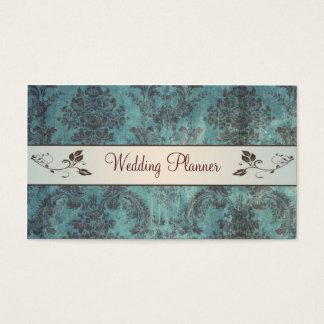 Blue brown damask Wedding Planner Business Card