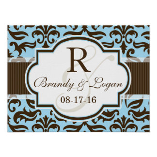 Blue & Brown Damask Wedding Poster