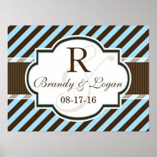 Blue & Brown Diagonal Stripes Wedding Poster
