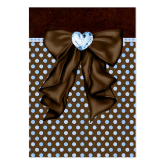 Blue Brown Dots Heart Party Favor Tags Large Business Card