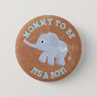 Blue Brown Elephant Its a Girl Baby Shower Pin