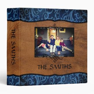 Blue+Brown Faux Leather Family Scrapbook Album Vinyl Binder