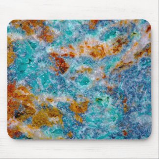 Blue & Brown Faux Marble Stone Pattern Mouse Pad
