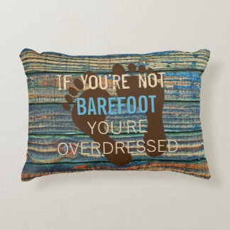 Blue Brown Faux Weathered Wood Planks Pattern Decorative Pillow