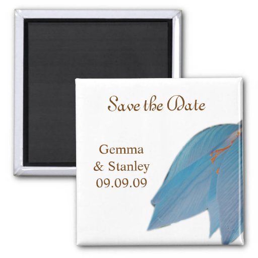 Blue & Brown Flower Save the Date Refrigerator Magnets