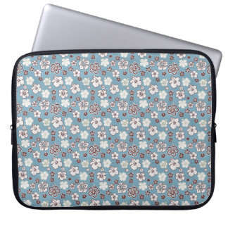 Blue Brown Hibiscus Floral Pattern Computer Sleeve