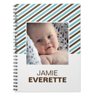 Blue brown modern stripes custom photo journal