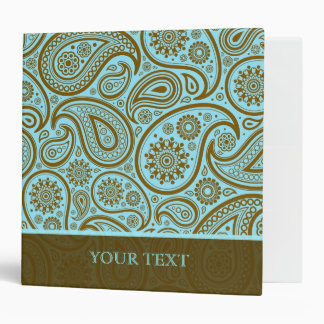 Blue & Brown Paisley Retro Pattern-Template Binder