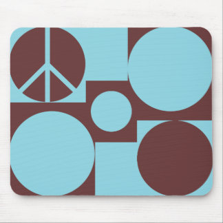 Blue & Brown Peace Dots Mouse Pad