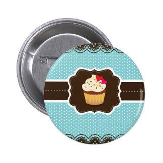 Blue//Brown Plaid cupcake Pin
